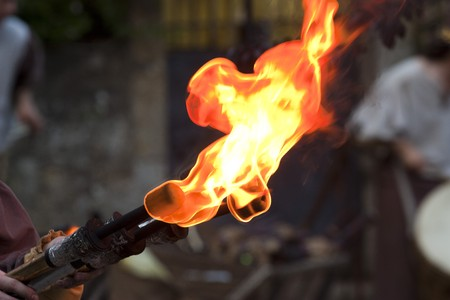 Medieval fire torch during the Rodemack Festival Stock Photo - 7533971