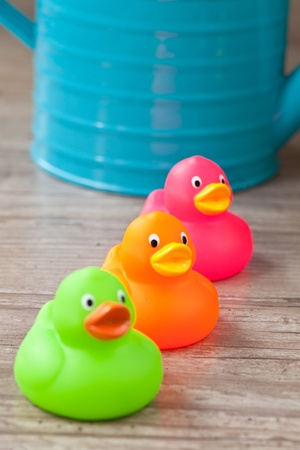 Photo of a colorful rubber duck for bath photo