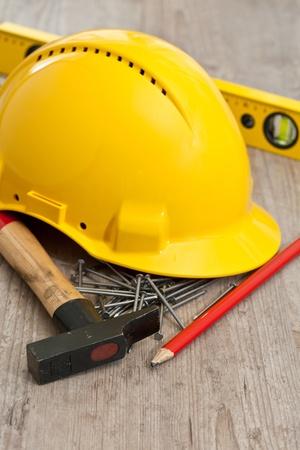 Set of carpenter equipment tools for building