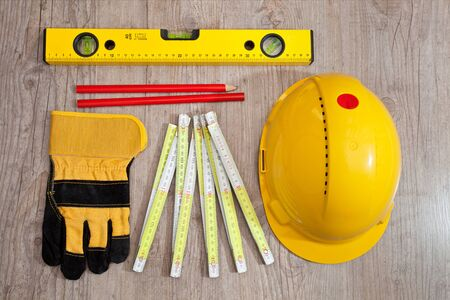 Set of carpenter equipment tools for building photo