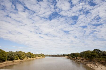 Landscape view of the south luangwa river in Zambia