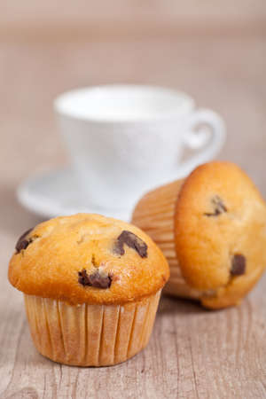 delicious american chocolate muffins for breakfast photo