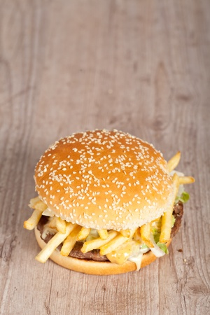 Tasty delicious american hamburger and cheese sandwich Stock Photo - 10778018
