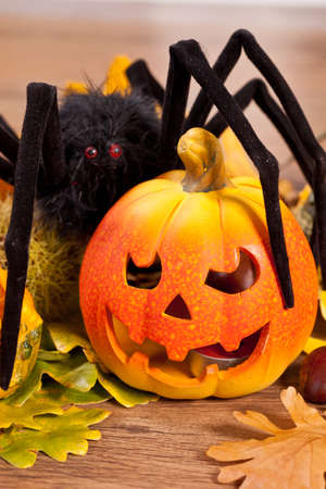 Orange scary pumpkin for Halloween night celebrations