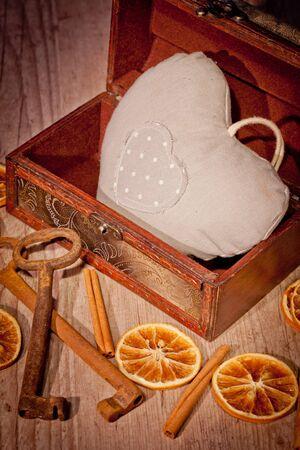 Love heart safe in a treasure chest photo