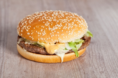 Tasty delicious american hamburger and cheese sandwich