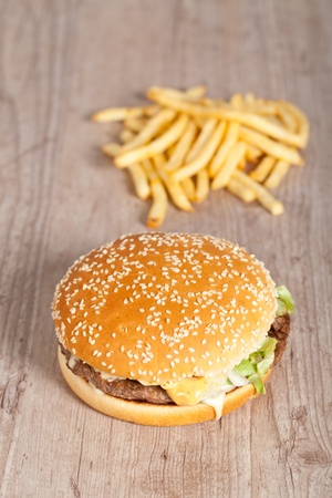 Tasty delicious american hamburger and cheese sandwich photo
