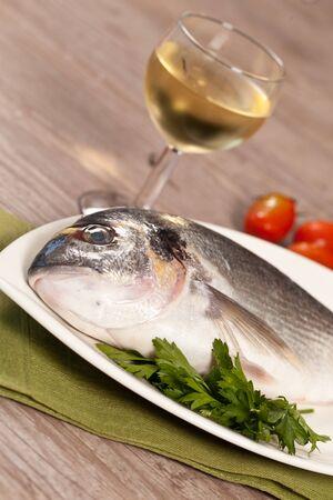 sea bream: Fresh raw sea bream ready to be cooked