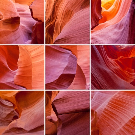 collage photo composition of famous rocks formations in Antelope Canyon in Arizona