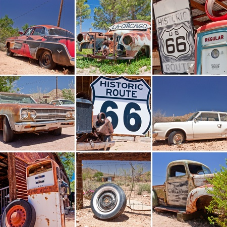 collage photo composition of famous Route 66 in USA Stock Photo - 10958389
