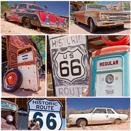 route 66: collage photo composition of famous Route 66 in USA