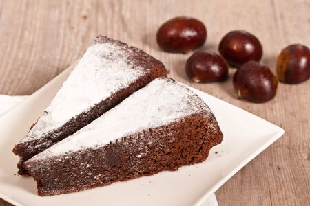 Delicious slice of chestnut cake for autumn season