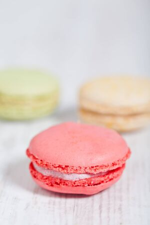 Colorful delicious macarons, typical french pastries Stock Photo - 11021361