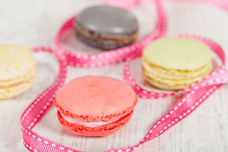 Colorful delicious macarons, typical french pastries Stock Photo - 11021391