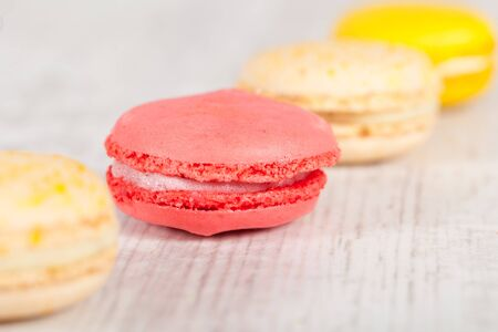 Colorful delicious macarons, typical french pastries Stock Photo - 11021389