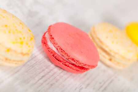 Colorful delicious macarons, typical french pastries Stock Photo - 11021365