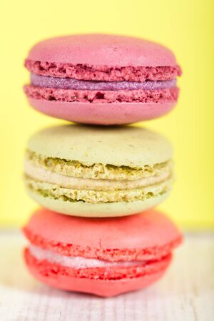 Colorful delicious macarons, typical french pastries Stock Photo - 11021403