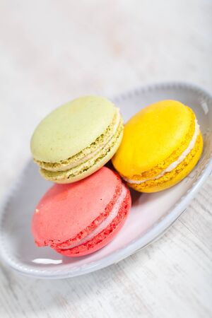 Colorful delicious macarons, typical french pastries Stock Photo - 11021401