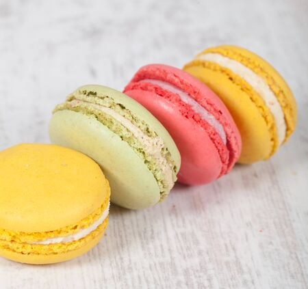 Colorful delicious macarons, typical french pastries Stock Photo - 11021360