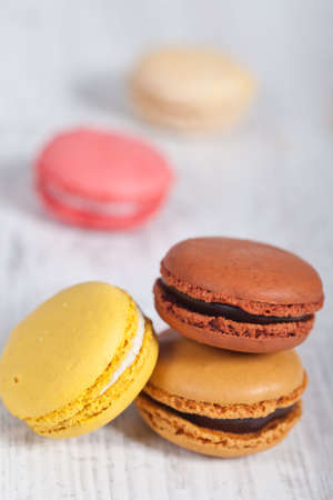 Colorful delicious macarons, typical french pastries Stock Photo - 11021390