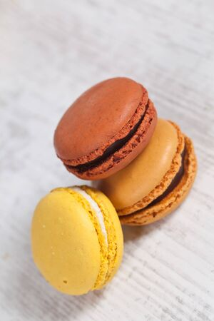 Colorful delicious macarons, typical french pastries Stock Photo - 11021402