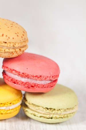 Colorful delicious macarons, typical french pastries Stock Photo - 11021379