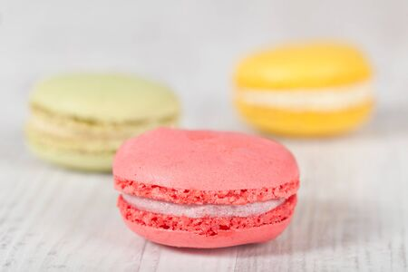 Colorful delicious macarons, typical french pastries Stock Photo - 11021368