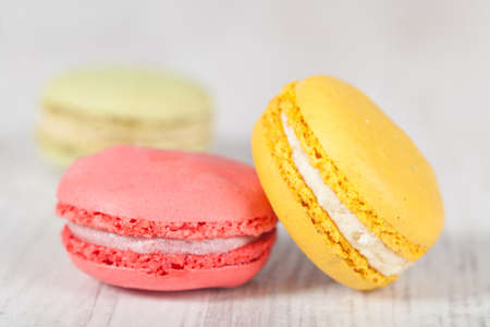 Colorful delicious macarons, typical french pastries Stock Photo - 11021373
