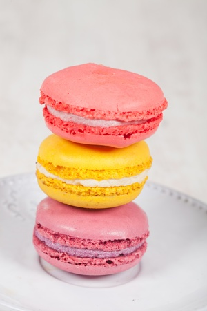Colorful delicious macarons, typical french pastries Stock Photo - 11021376