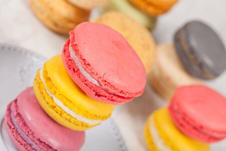 Colorful delicious macarons, typical french pastries Stock Photo - 11021393