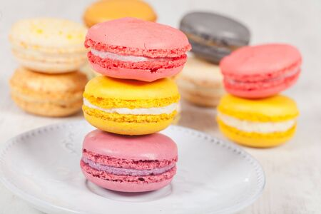 Colorful delicious macarons, typical french pastries Stock Photo - 11021398