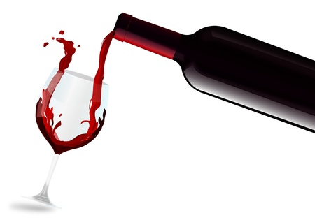 bottle of wine: Red wine filling glass Illustration