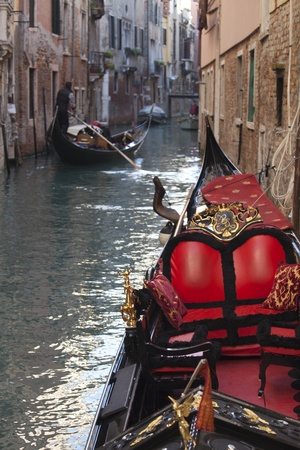 Photo of a typical gondola in Venice photo