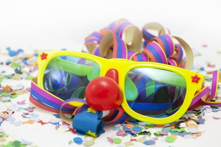 Colorful funny carnival background with stripes and mask