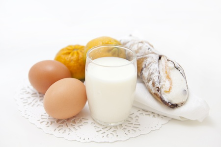 Breakfast set with fresh eggs, biscuits and milk