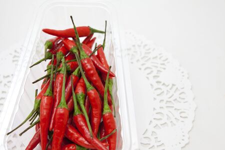 hotness: Basket of  some Fresh hot red peppers