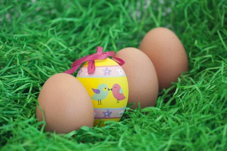 Background photo of nice decorated eggs for easter time photo