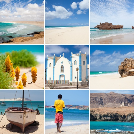 collage photo composition of famous Boavista island of Cape Vert Redactioneel