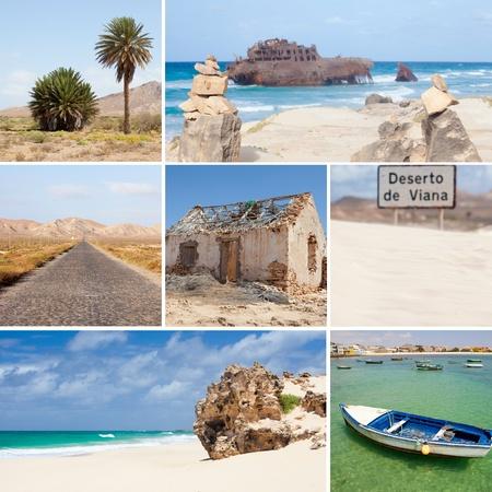 collage photo composition of famous Boavista island of Cape Vert Stock Photo