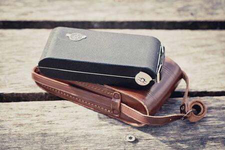 folding camera: Beautiful old vintage folding camera