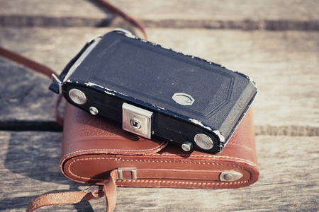 Beautiful old folding camera with a nice design  photo