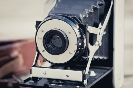 Beautiful old folding camera with a nice design Stock Photo - 12583796