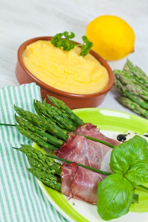 speck: Delicious bunch of asparagus rolled with speck