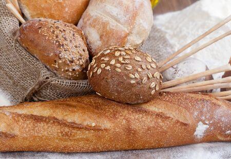 Crusty fresh bread assortment background photo