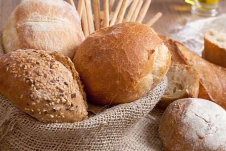 bakery products: Crusty fresh bread assortment background