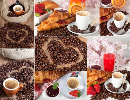 A collage of different photos representing breakfast Stock Photo