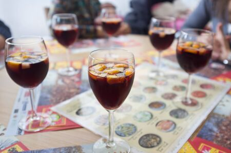 Glasses of sangria, the typical beverage in Spain photo