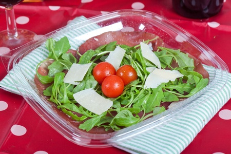 Fresh salad with bresaola ham and parmesan Stock Photo - 13377610