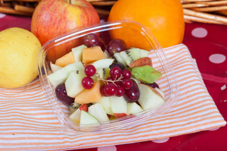 ribes: Fresh summer fruit salad with ribes, apple, kiwi, grapes and melon