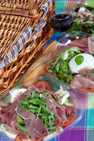 pic nic: Delicious variety of italian salad with ham and mozzarella cheese